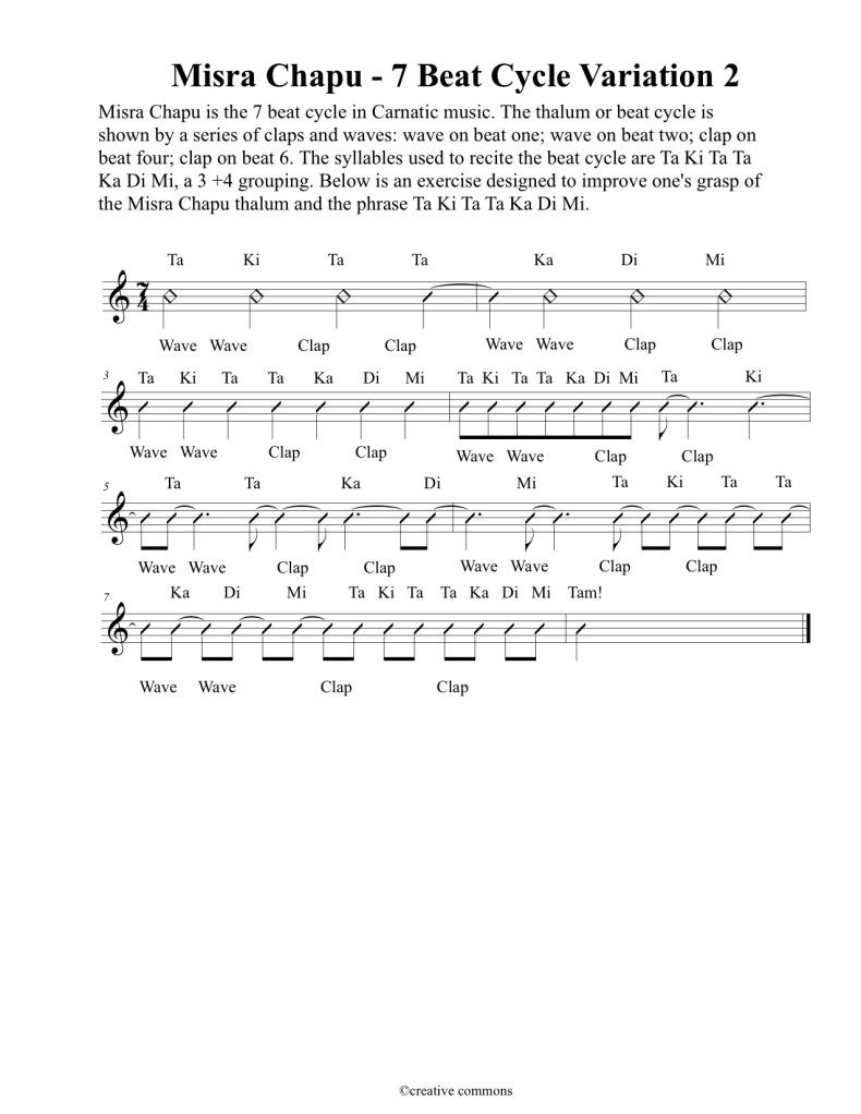 Misra Chapu 7 beat cycle - Variation 2