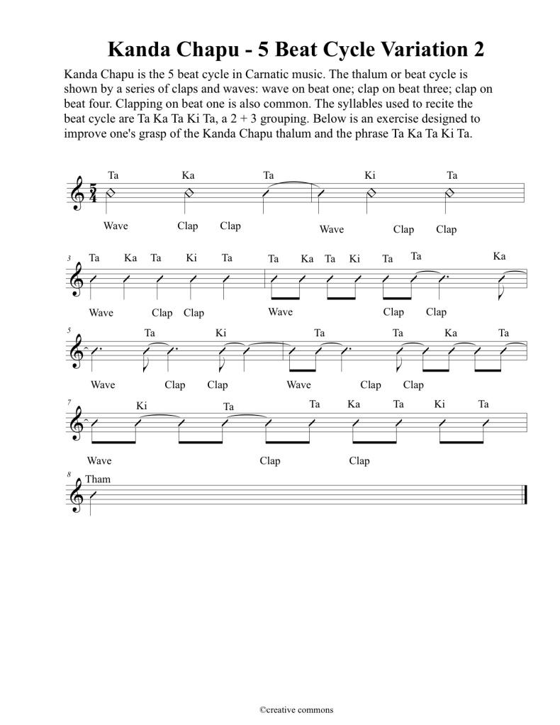 Kanda Chapu 5 beat cycle - Variation 2